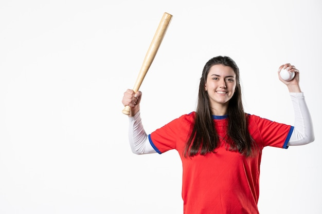 Front view female player with baseball bat