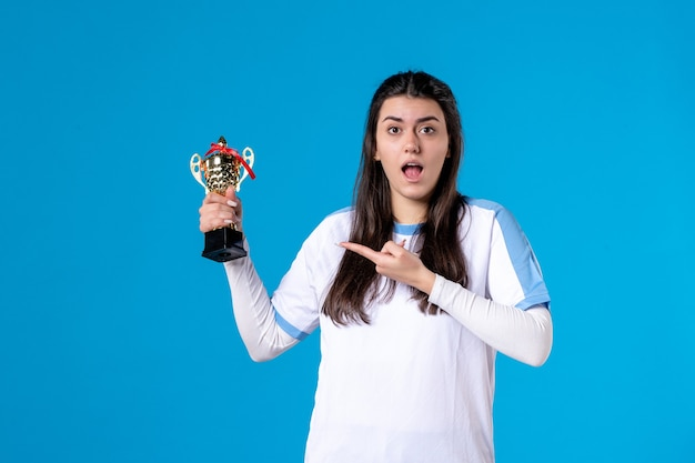 Front view female player with cup