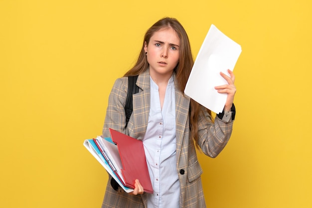 Front view of female student with papers