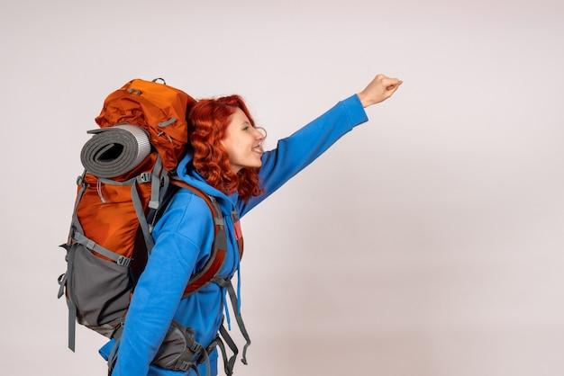 산 여행에가 전면보기 여성 관광