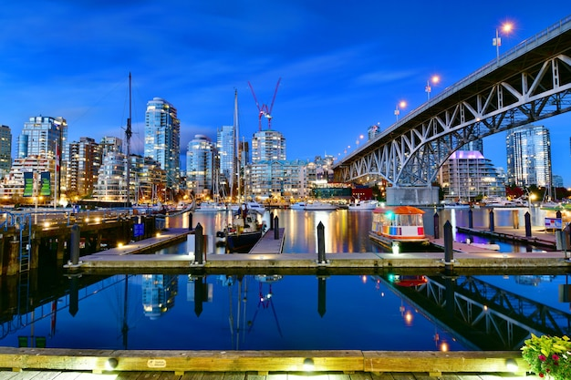 Front of view ferry boat docked in granville island ,vancouver,canada