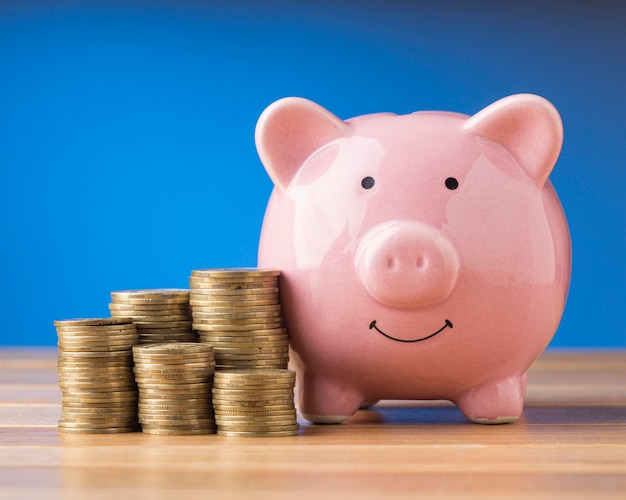 Front view finance elements with pink piggy bank
