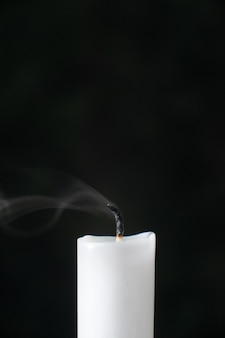 Front view of fireless candle on black