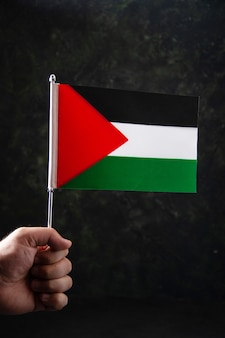 Front view of flag of palestine on black