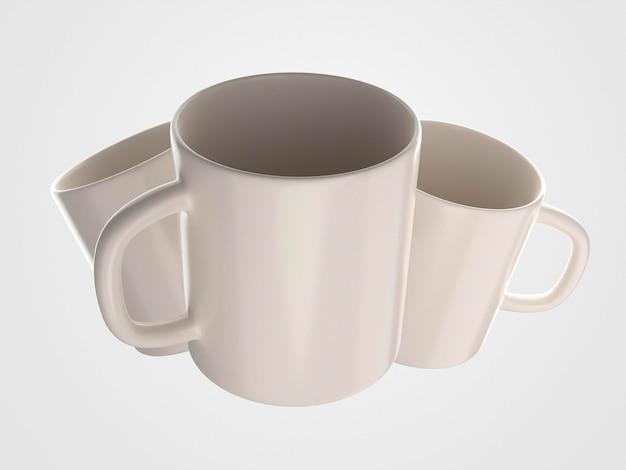 正面図飛行白いマグカップの概念