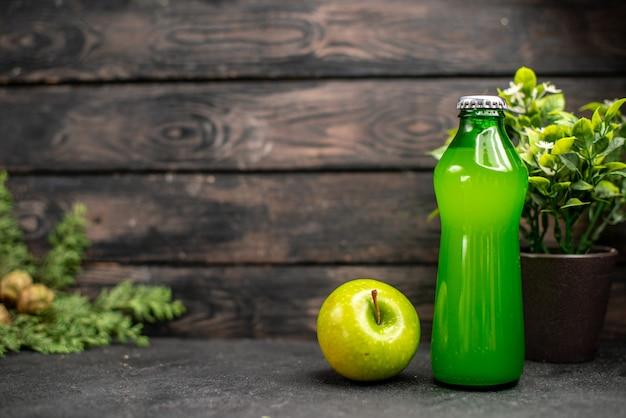 Limonata di mele fresca vista frontale in bottiglia pianta in vaso di mele