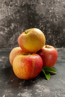 Front view fresh apples on dark photo mellow fruit ripe vitamine juice color tree pear