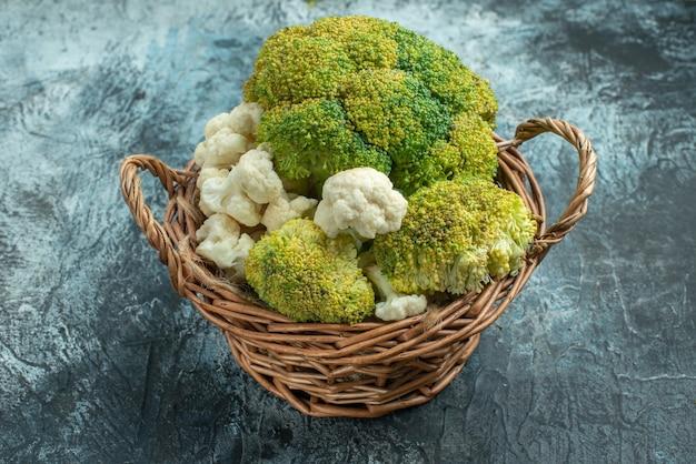 Front view fresh cauliflower inside basket on light-grey surface