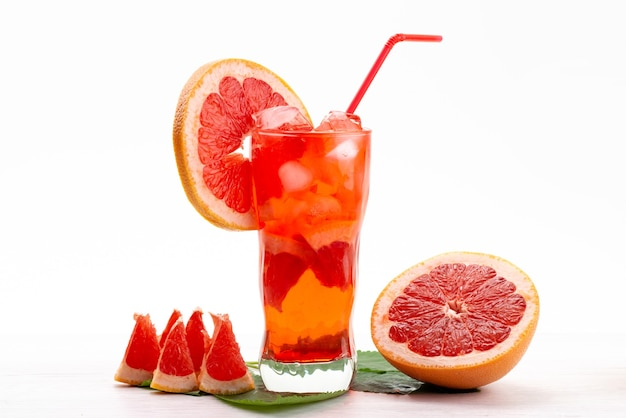 A front view fresh fruit cocktail with fresh fruit slices ice cooling on white, drink juice cocktail fruit color