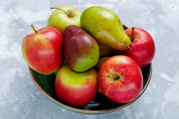 Front view fresh fruits apples and mango on light-white desk fruit fresh mellow ripe tree photo