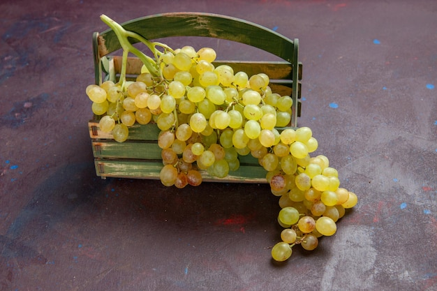 Front view fresh grapes green and ripe fruits on dark surface wine grape fruit ripe fresh tree plant