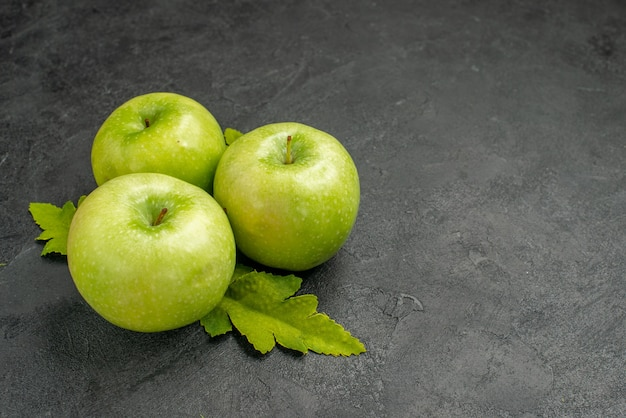 Front view fresh green apples on grey background ripe photo color tree fruit juice vitamine