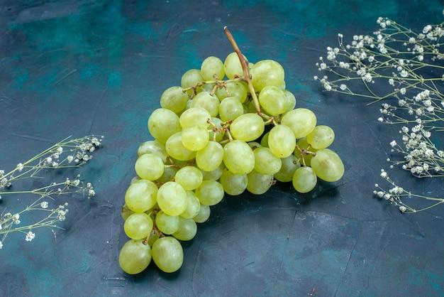 Вид спереди свежий зеленый виноград на темноте