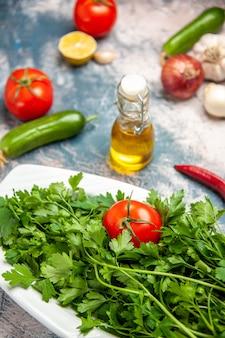 밝은 파란색 배경 잘 익은 샐러드 사진 색상에 토마토가 있는 전면 보기 신선한 채소