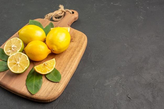 어두운 배경에 전면보기 신선한 레몬 신 과일