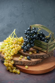 Front view fresh mellow grapes dark and green fruits on a dark surface wine grape fruit ripe fresh tree plant