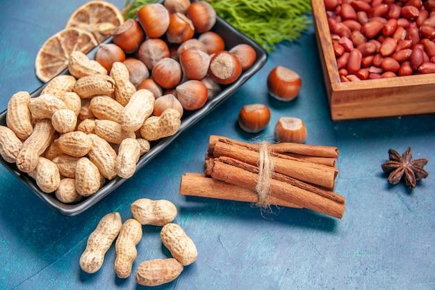 Вид спереди свежие орехи корица, фундук и арахис внутри тарелки на синем ореховом цвете закусочные чипсы фото растение древесный орех