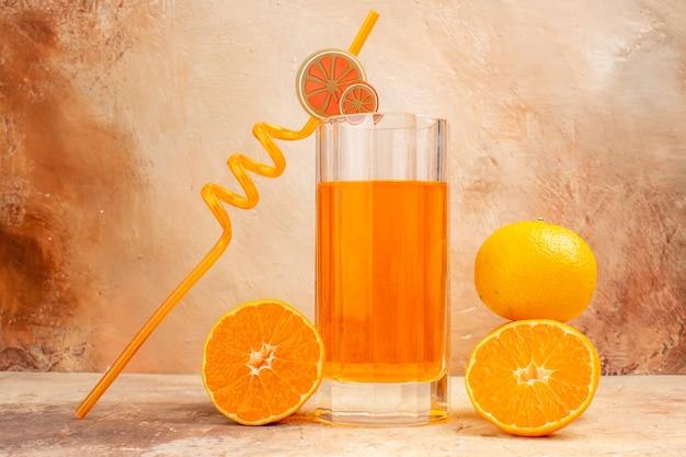 Front view fresh orange juice on dark background drink citrus fruit photo color
