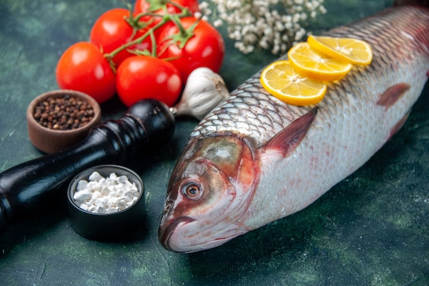 Front view fresh raw fish with tomatoes and lemon on dark blue surface shark seafood meal ocean horizontal dinner food animal water meat Free Photo