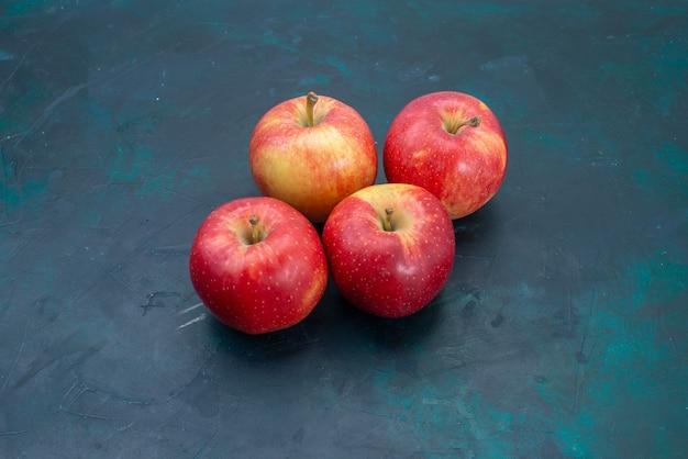 正面図新鮮な赤いリンゴのまろやかで新鮮な果物の紺色の机の上の果物新鮮なまろやかな熟した木