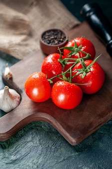Vista frontale pomodori rossi freschi con aglio su sfondo scuro