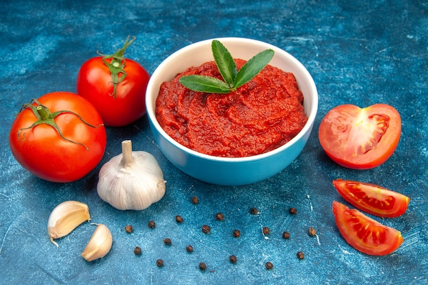 Front view fresh tomatoes with tomato paste on blue color salad red tree vegetable food ripe
