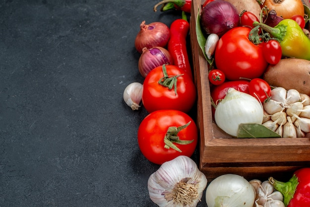 Front view fresh vegetables composition on grey table ripe salad fresh color