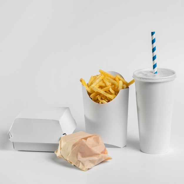 Front view fries and blank fast food packaging
