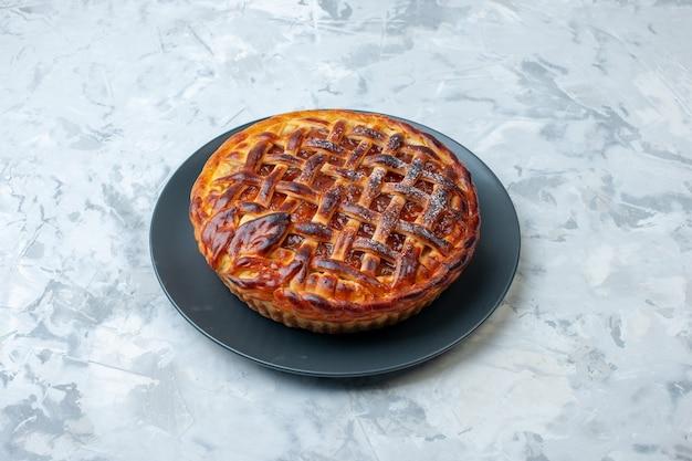 밝은 배경에 젤리가 있는 전면 보기 과일 파이 사진 비스킷 쿠키 파이 디저트 컬러 차 케이크