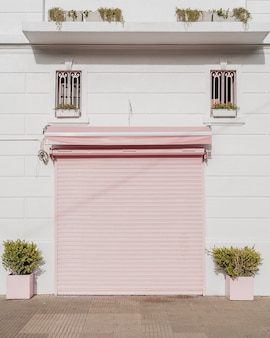 Front view of garage door in a city building