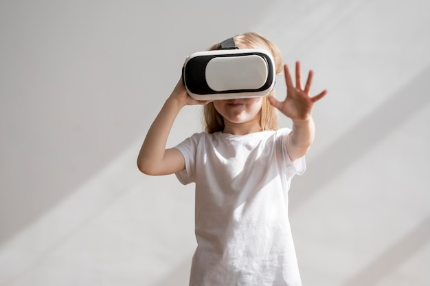 Front view girl with virtual reality headset