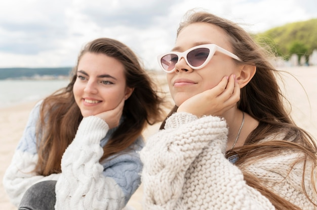 Front view of girls spending time together