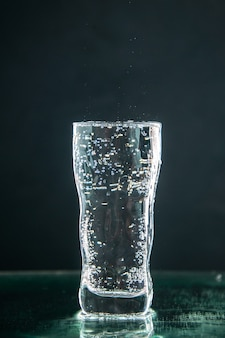 Front view glass of soda full on the dark drink photo champagne xmas water