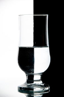 Front view glass of water on black-white drink wine photo transparent