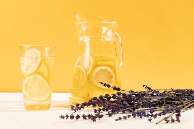 Front view glass with lemonade and lavender