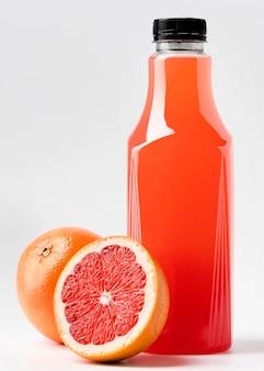 Front view of grapefruit juice bottle with cap