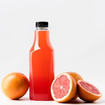 Front view of grapefruit juice glass bottle
