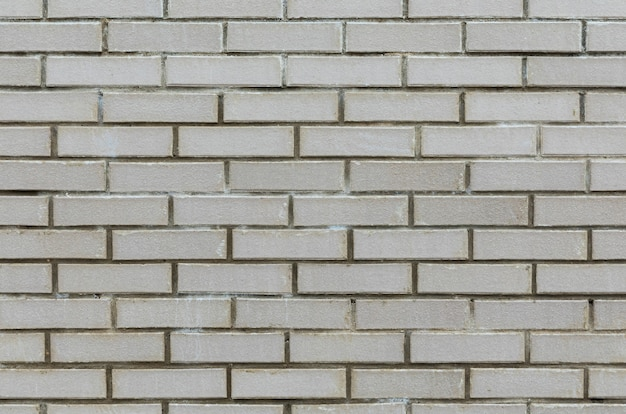 Front view of gray cement wall tiled with brick.