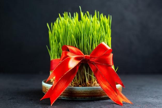 Вид спереди зеленый праздник семени с красным бантом на темной поверхности