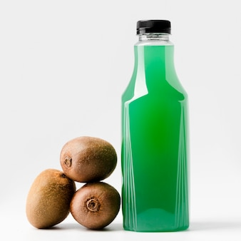 Front view of green juice bottle with kiwi