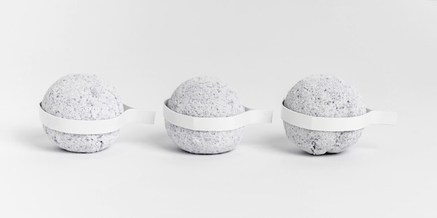 Front view grey bath bombs