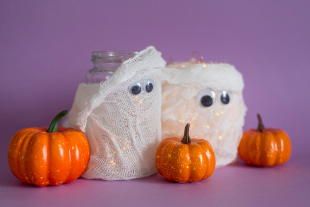 Front view of halloween handmade ghost concept