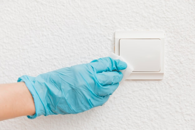 Front view of hand disinfecting light switch