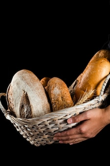 Front view of a hand holding a bread basket