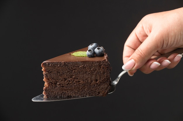 Front view of hand holding chocolate cake slice