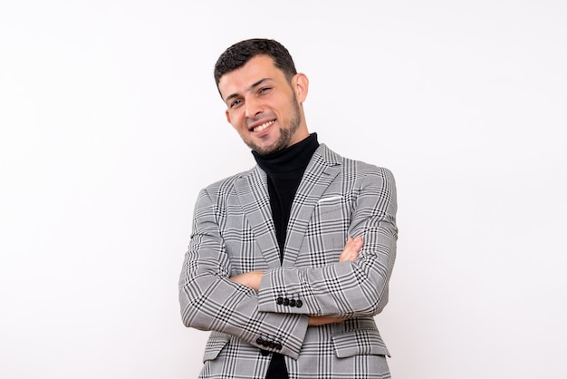 Front view handsome male in suit crossing his hands standing on white isolated background