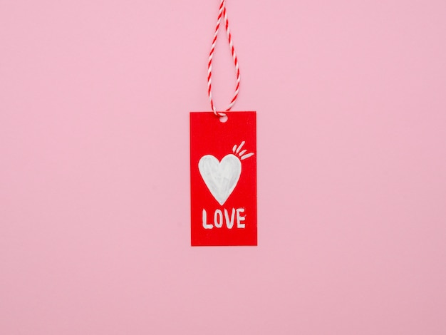 Front view of hanging love tag