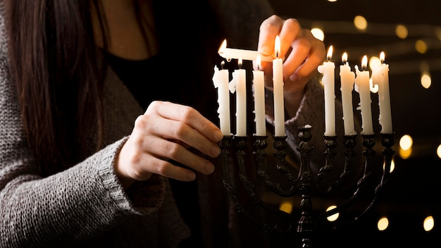 Front view of hanukkah candle holder concept