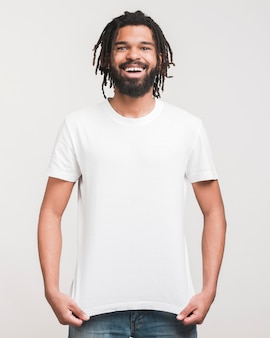 Front view happy man standing