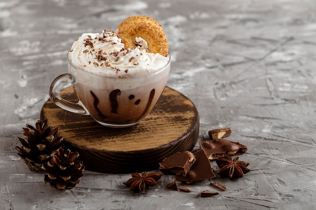 Front view of hot chocolate concept